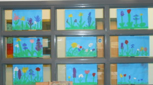 We closely observed flowers and painted them.  Don't they look beautiful?